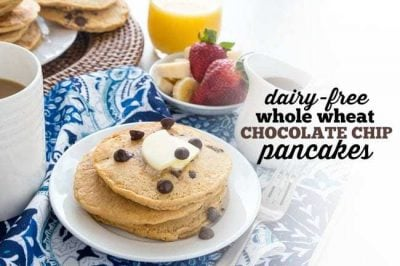 Dairy-Free Whole Wheat Chocolate Chip Pancakes