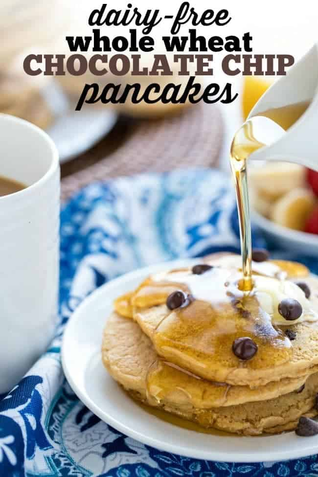 Dairy-Free Whole Wheat Chocolate Chip Pancakes - Happy ...