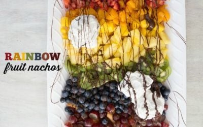 RAINBOW FRUIT NACHOS ARE A FUN AND YUMMY WAY TO INCLUDE AN EASY DESSERT WHILE GETTING IN MORE FRUITS, MAKING THIS A HEALTHIER OPTION!