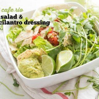 Copycat Cafe Rio Veggie Salad & Vegan Creamy Cilantro Dressing