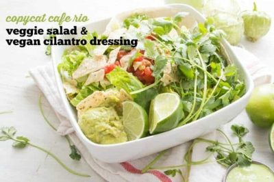 Copycat Cafe Rio Veggie Salad with Vegan Creamy Cilantro Dressing