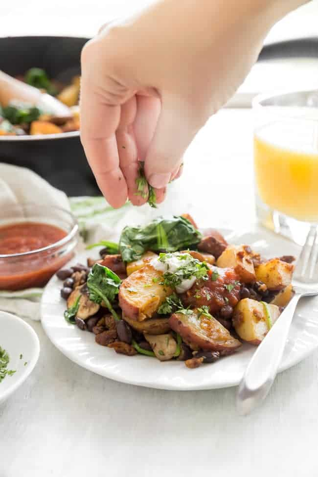 VEGAN BREAKFAST HASH - Breakfast doesn't have to be complicated and a big fuss, even with a plant-based diet. Throw some veggies together, season it up, and you have a hearty breakfast that will please your entire family.