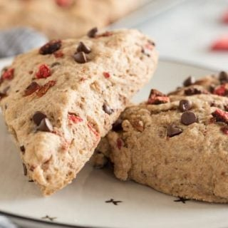 Vegan Scones with the taste of a chocolate strawberry in every bite.