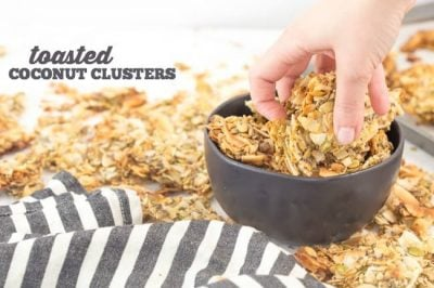 These coconut clusters are totally addicting and perfect for snacking on the go! skip buying them from costco and make them from home in minutes!