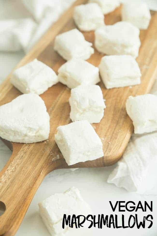 This homemade vegan marshmallows recipe will have you rejoicing. No longer do you have to drink your hot cocoa without a fluffy marshmallow or sit by a campfire eating plain graham crackers while everyone enjoys their s'mores. You can have it all now with these easy vegan marshmallows.