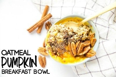 This Pumpkin Breakfast Bowl gives you the fall flavors you love in a healthy bowl of oatmeal, yogurt, pumpkin, and other nutritious goodies.