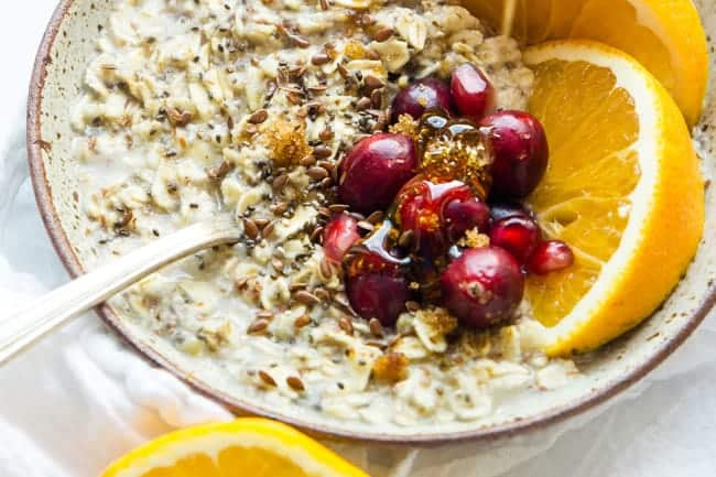 HEALTHY OATMEAL BOWL | CRANBERRY ORANGE OATS  | VEGAN