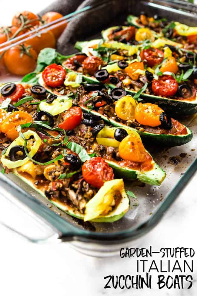 GARDEN-STUFFED ITALIAN ZUCCHINI BOATS - the perfect easy weeknight dinner to make for your family