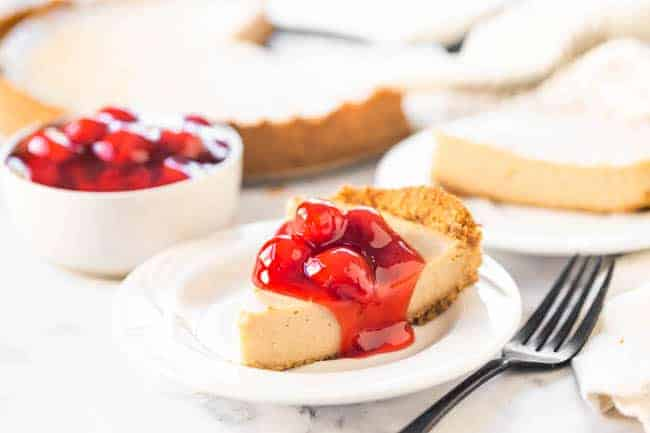 Baked Cashew Cheesecake topped with Cherry Sauce