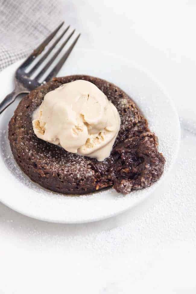 Molten Chocolate Cake - this vegan plant-based version of a decadent molten lava cake is so easy yet super impressive.