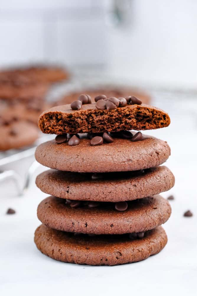 Tall Stack of vegan double chocolate cookies