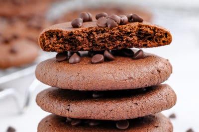 Stack of Vegan Double Chocolate Chip Cookies