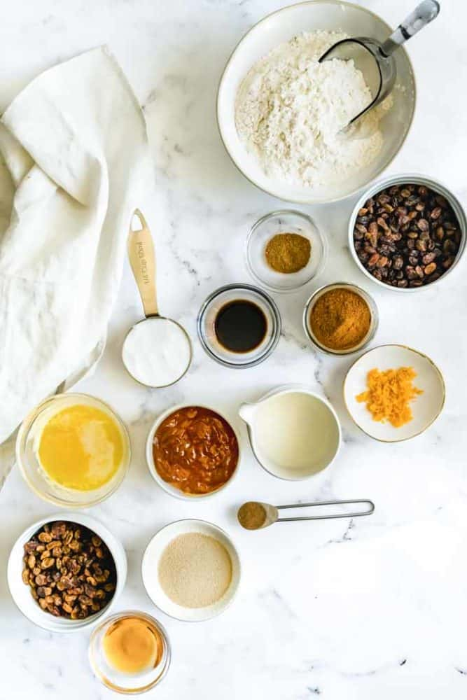 ingredients for vegan hot cross buns