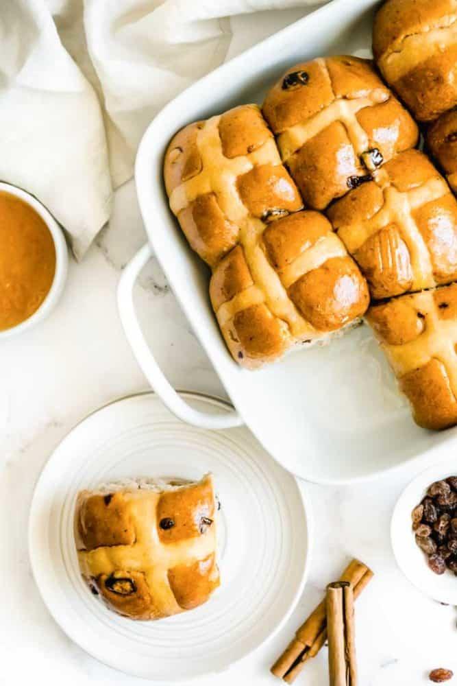 plate of hot cross bun recipe