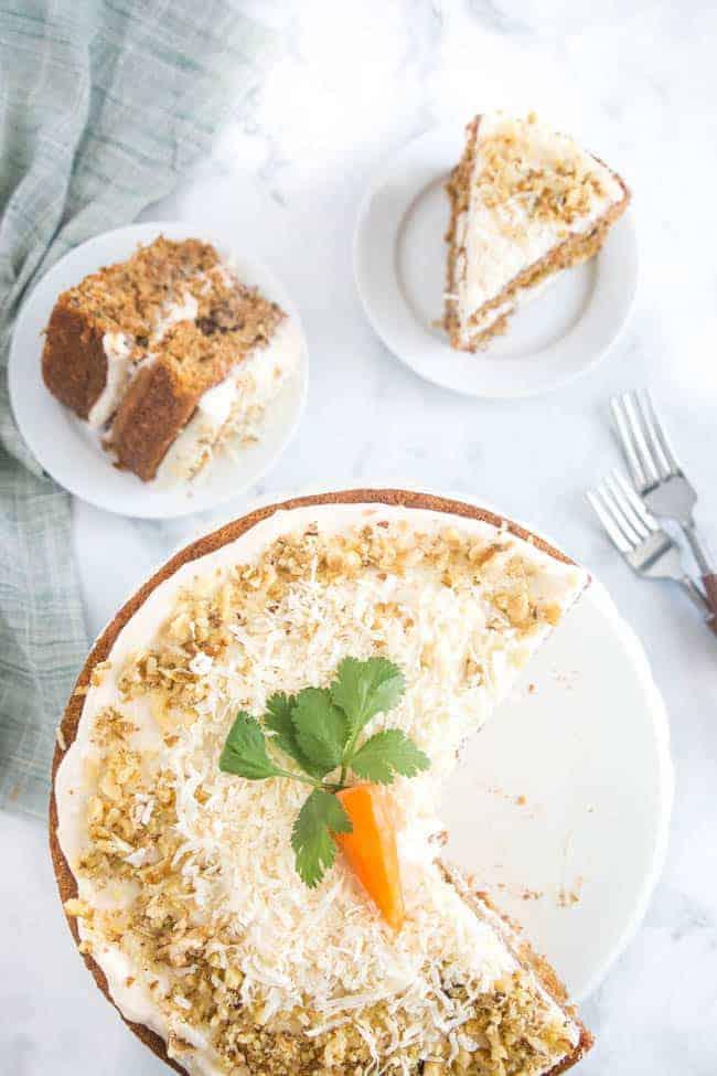 slices of vegan carrot cake
