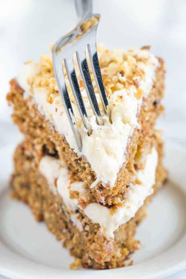 Slice of the best vegan carrot cake