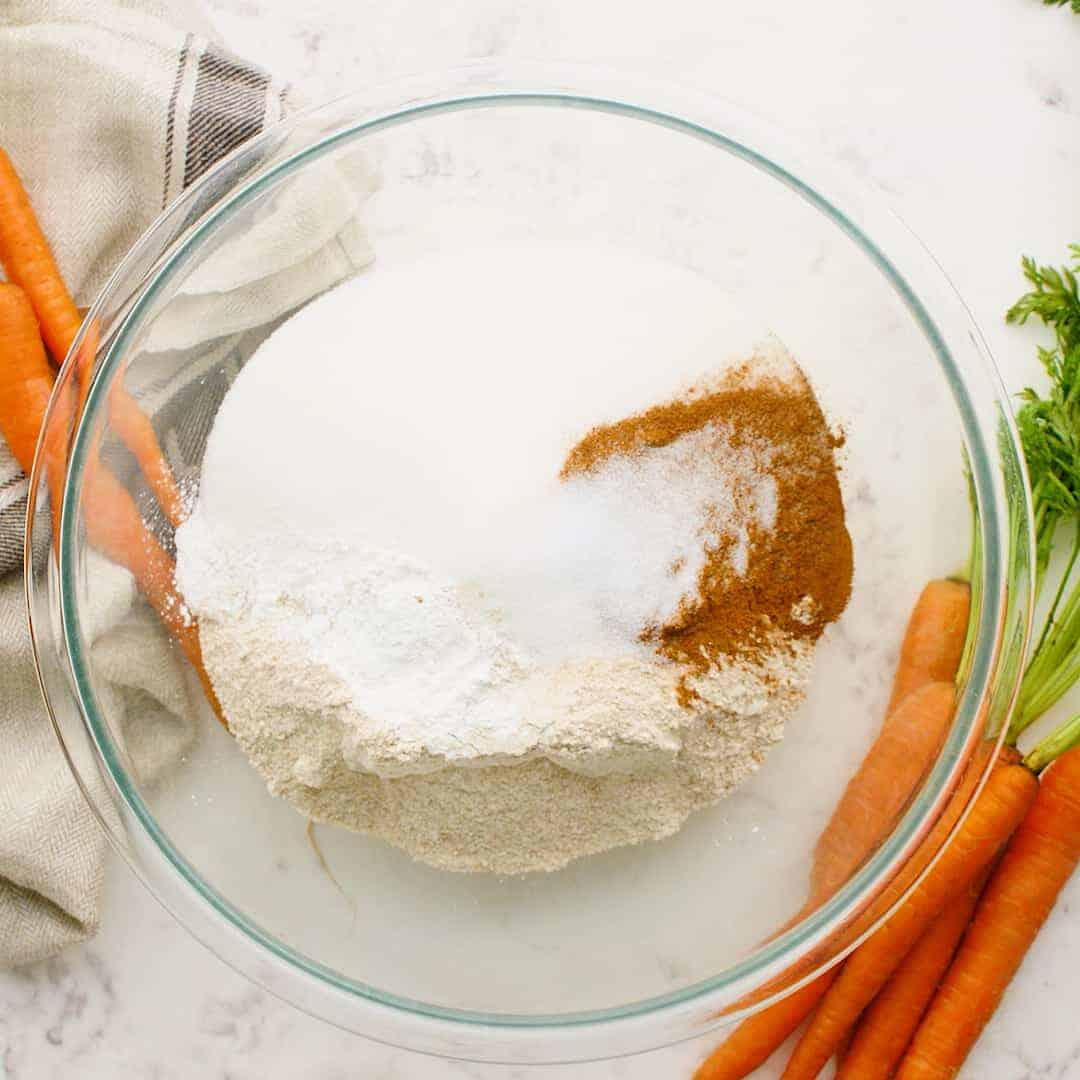 dry ingredients for vegan carrot cake recipe