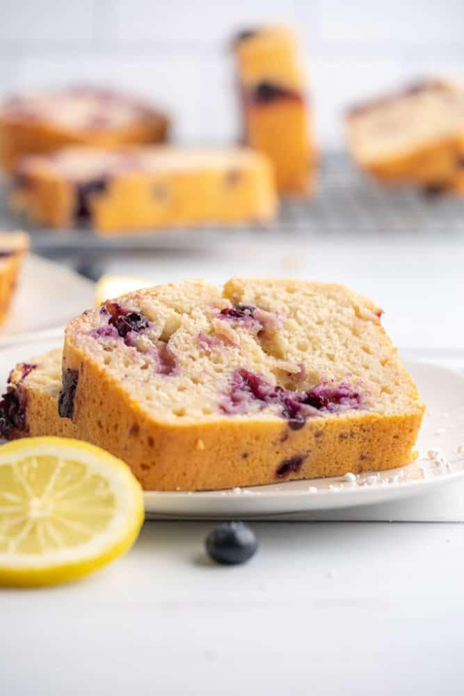 slice of lemon blueberry pound cake