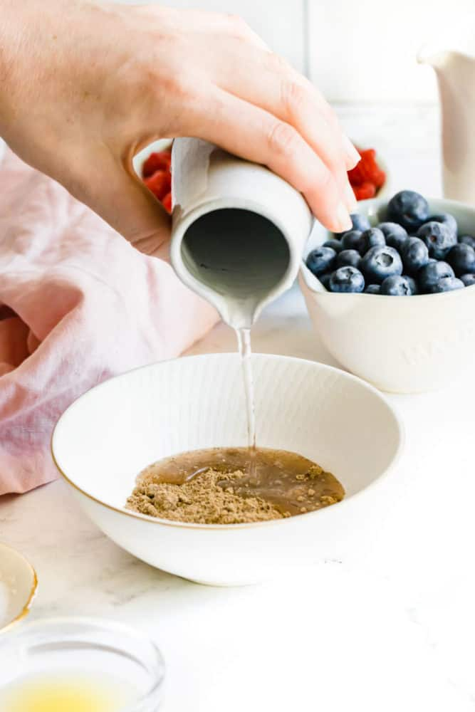 combine flax and water for vegan waffle recipe