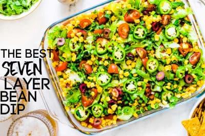 horizontal image of vegan 7 layer taco dip