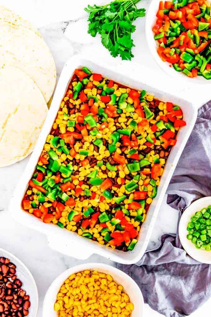 veggies layered for enchilada casserole