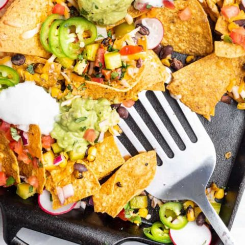 vegan nachos on a sheet pan