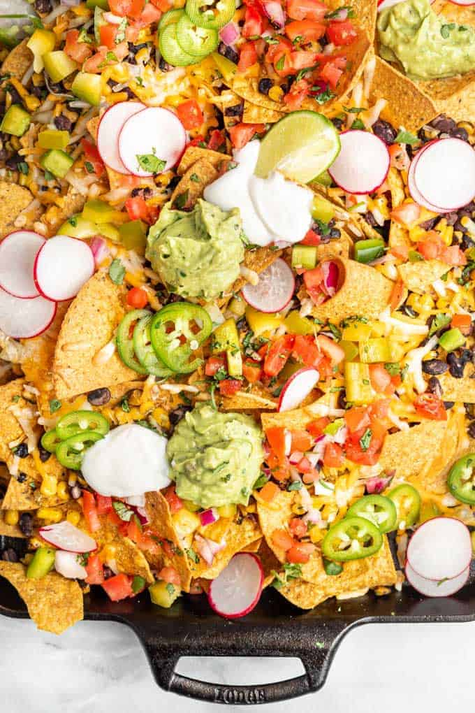 loaded nachos on sheet pan