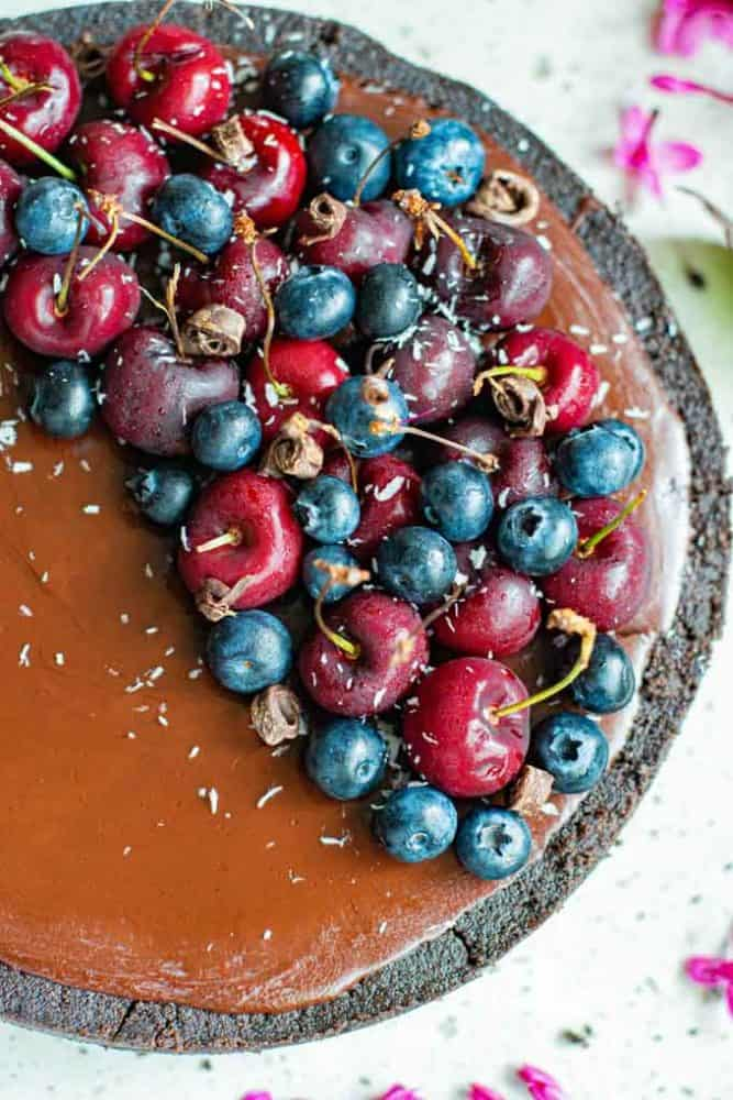 chocolate tart decorated with fruit