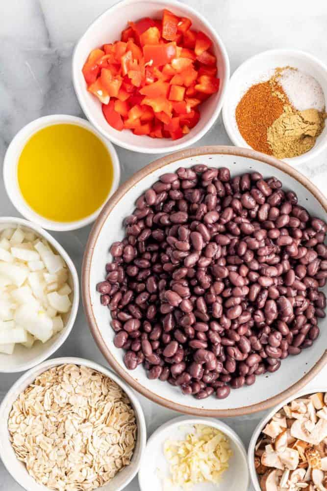 ingredients for vegan black bean burger
