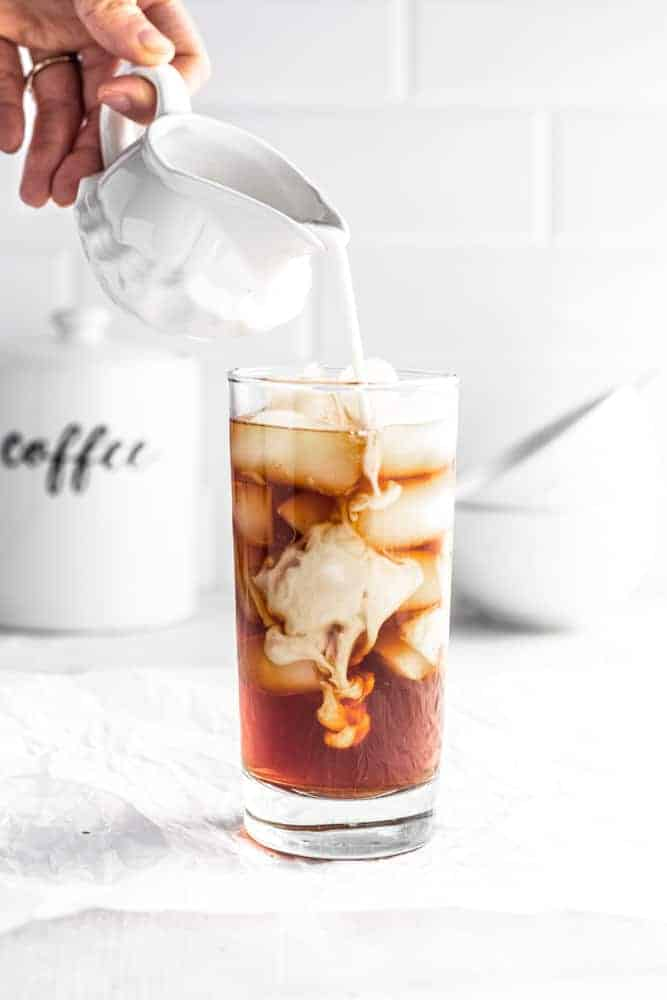 coconut creamer in cold brew iced coffee