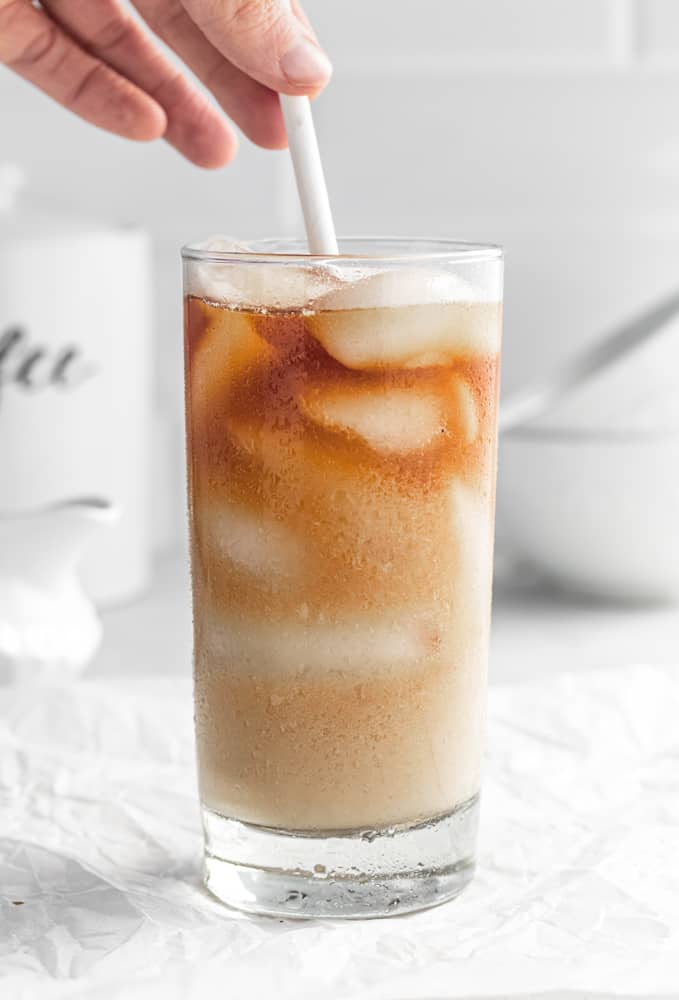 paper straw in cold brew ice coffee