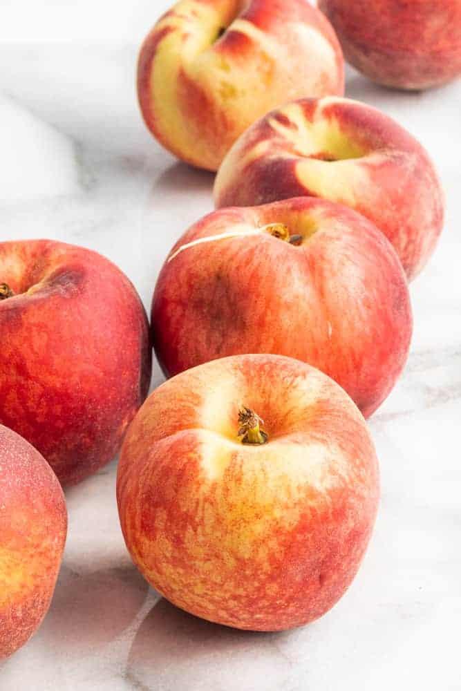 fresh peaches for vegan peach cobbler