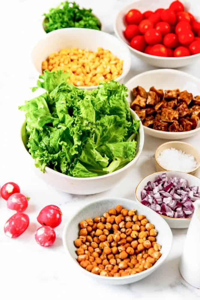 ingredients for healthy vegan cobb salad