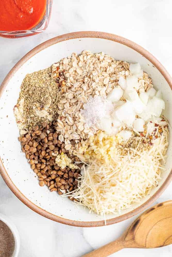 ingredients for vegan meatballs in bowl