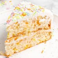 vegan birthday cake slice