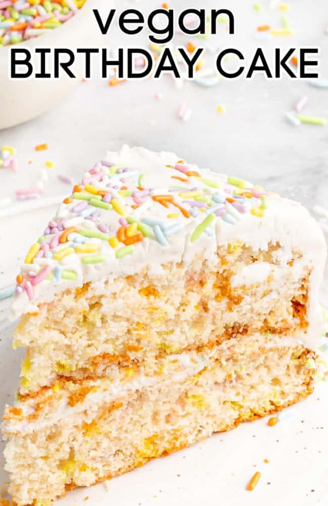 slice of vegan birthday cake