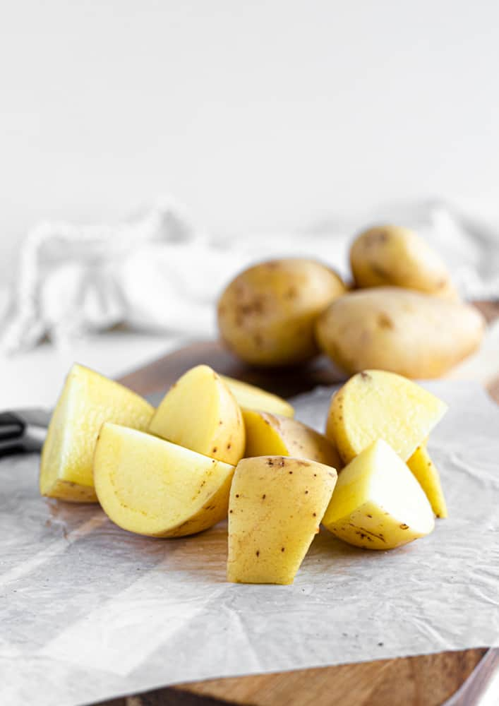 cut potatoes for potato salad